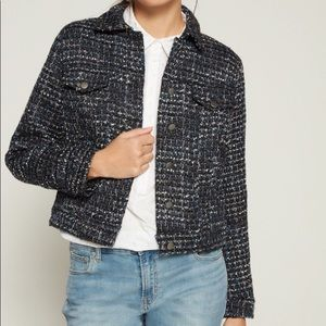Gap Tweed Icon Jacket Button Down Blue Small